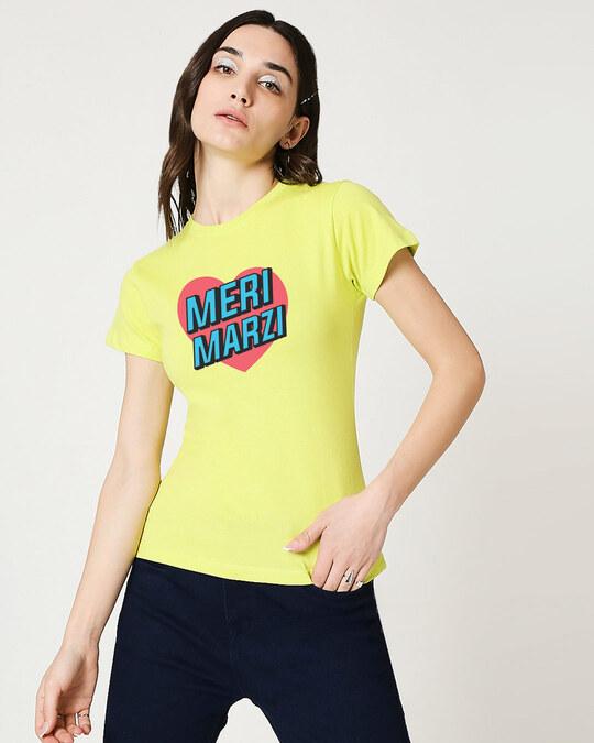 Shop Meri Marzi Half Sleeve Printed T-Shirt Neo Mint-Back