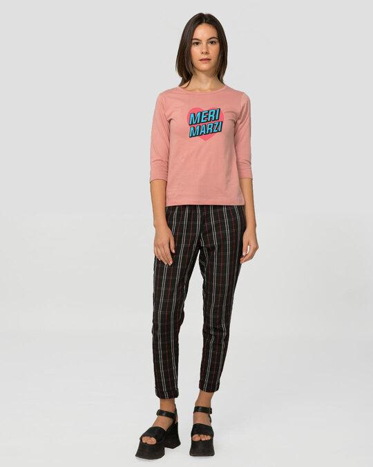 Shop Meri Marzi Round Neck 3/4 Sleeve T-Shirts Misty Pink -Full
