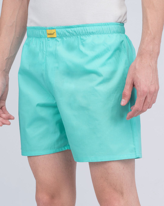 Shop Merlin Blue Plain Boxer-Front