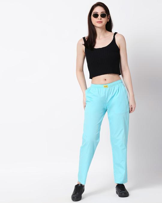Shop Merlin Blue Plain Pyjama-Full