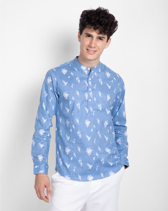 Shop Metal Blue Slim Fit Printed Henley Shirt-Front