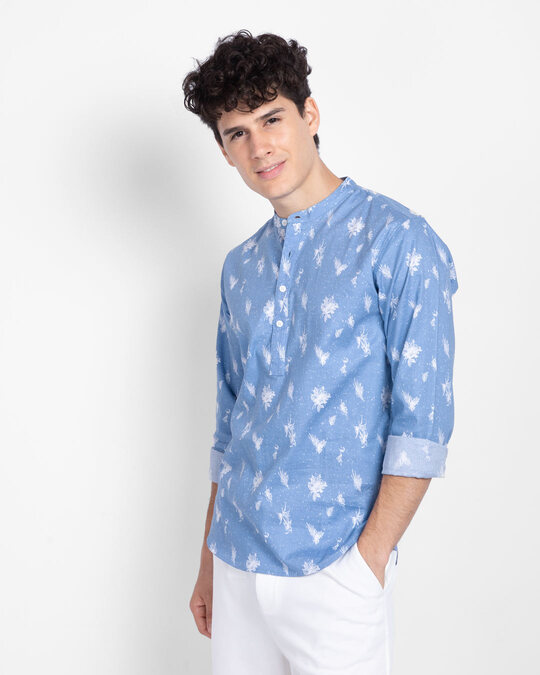 Shop Metal Blue Slim Fit Printed Henley Shirt-Back