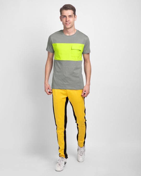 Shop Meteor Grey & Neon Green 90's Vibe Cargo Pocket T-Shirt