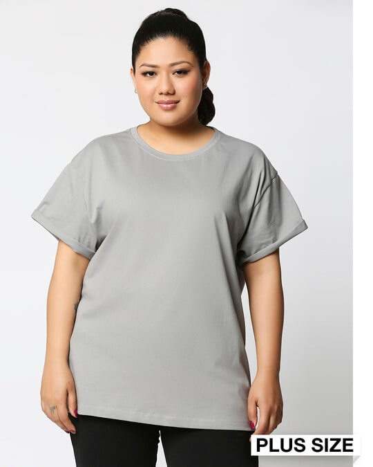 Shop Meteor Grey Boyfriend Plus Size T-Shirt-Front