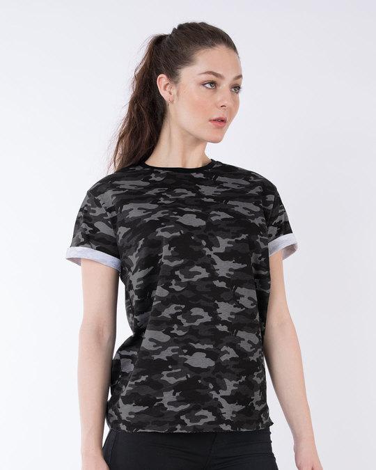 Shop Meteor Grey Camouflage Boyfriend T-Shirt-Front