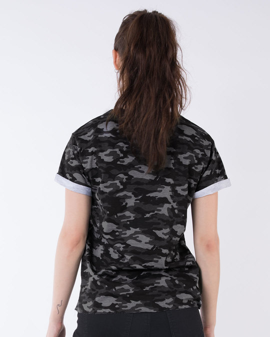 Shop Meteor Grey Camouflage Boyfriend T-Shirt-Full