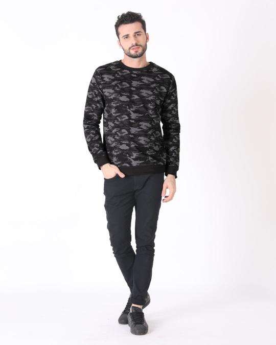 Shop Meteor Grey Camouflage Crew Neck Sweatshirt-Full