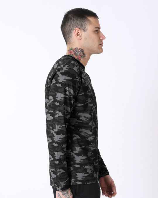 Shop Meteor Grey Camouflage Full Sleeve T-Shirt-Back