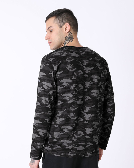 Shop Meteor Grey Camouflage Full Sleeve T-Shirt-Full