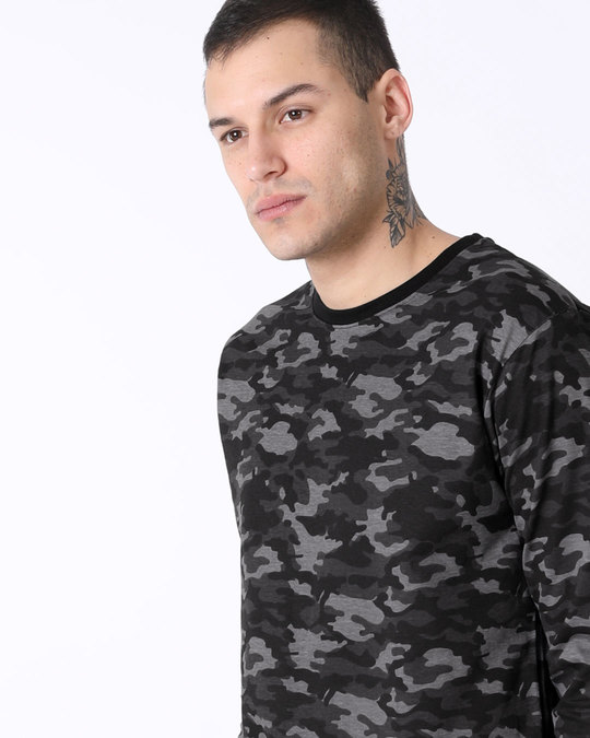 Shop Meteor Grey Camouflage Full Sleeve T-Shirt