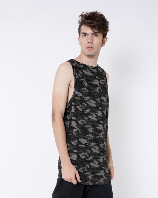 Shop Meteor Grey Camouflage Longline Vest-Back