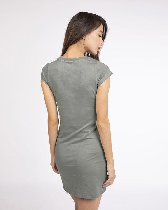 Shop Meteor Grey Cap Sleeve Plain T-Shirt Dress-Design