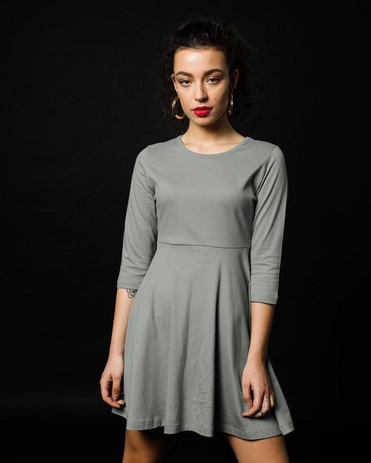 Shop Meteor Grey Flared Dress-Back