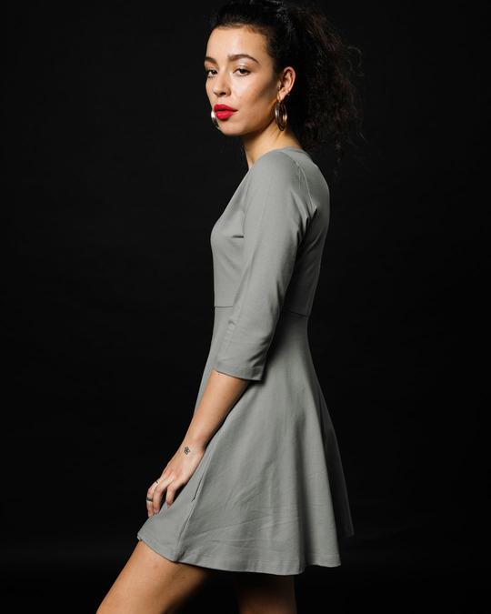 Shop Meteor Grey Flared Dress-Full