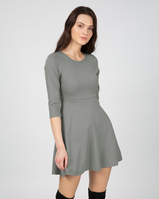 Shop Meteor Grey Flared Dress-Back