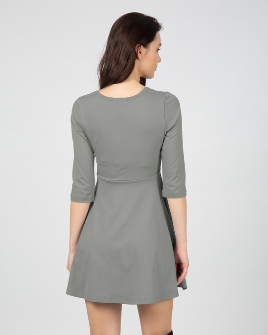 Shop Meteor Grey Flared Dress-Full