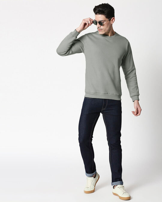 Shop Meteor Grey Fleece Sweater-Full