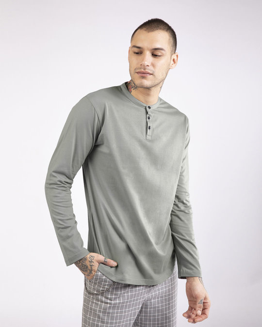 Shop Meteor Grey Full Sleeve Henley T-Shirt-Front