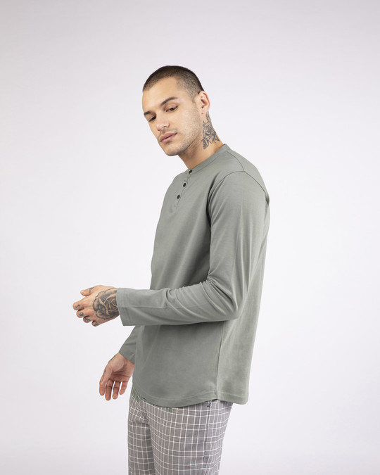 Shop Meteor Grey Full Sleeve Henley T-Shirt-Back