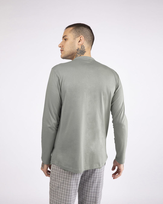 Shop Meteor Grey Full Sleeve Henley T-Shirt