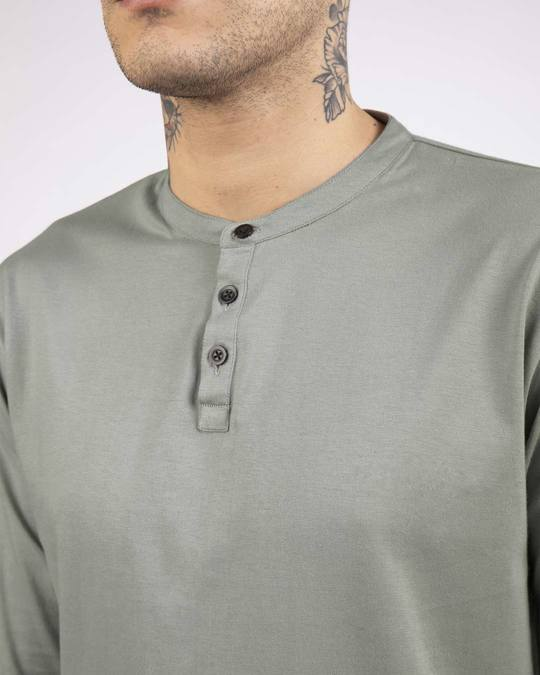 Shop Meteor Grey Full Sleeve Henley T-Shirt-Full