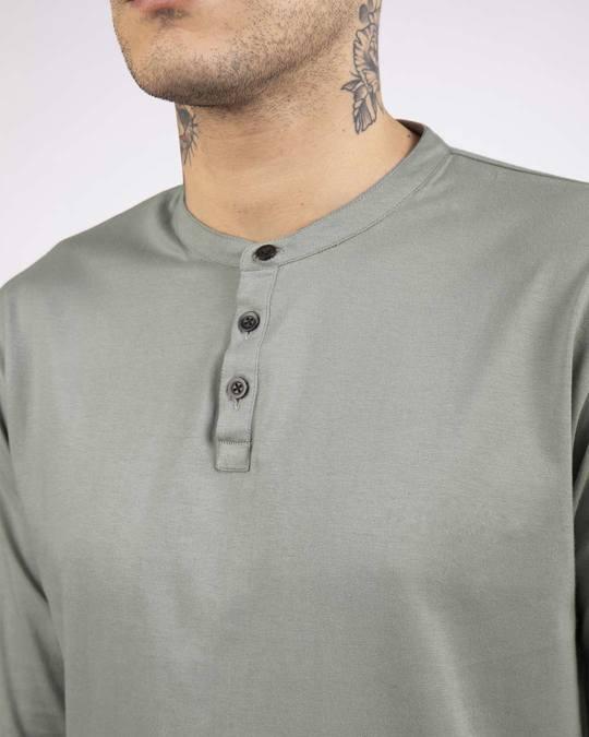 Shop Meteor Grey Full Sleeve Henley T-Shirt-Full