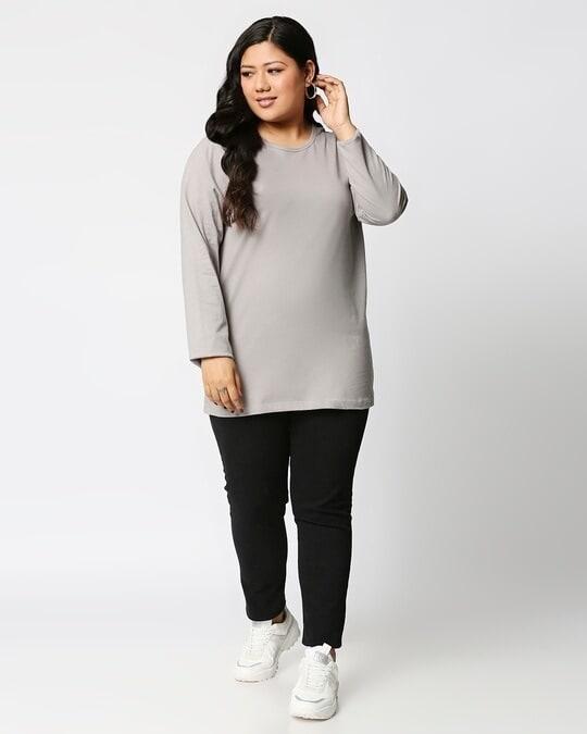 Shop Meteor Grey Full Sleeve Plus Size T-Shirt-Full