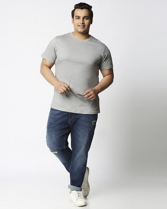Shop Meteor Grey Half Sleeve Plus Size T-Shirt-Full