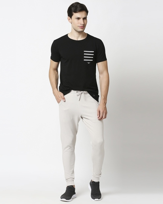 Shop Meteor Grey Men's Plain Casual Jogger With Elastic at Ankle-Full