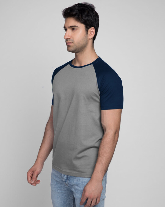 Shop Meteor Grey-Navy Blue Half Sleeve Raglan T-Shirt-Back