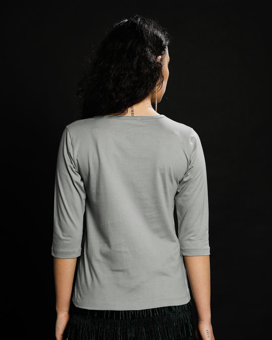 Shop Meteor Grey Round Neck 3/4th Sleeve T-Shirt