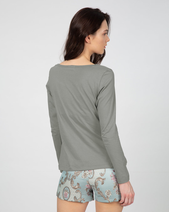 Shop Meteor Grey Scoop Neck Full Sleeve T-Shirt-Full