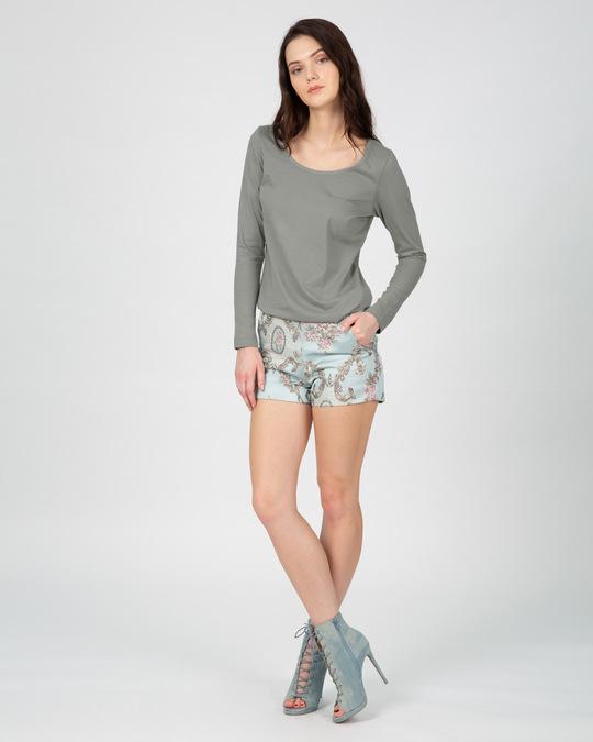 Shop Meteor Grey Scoop Neck Full Sleeve T-Shirt