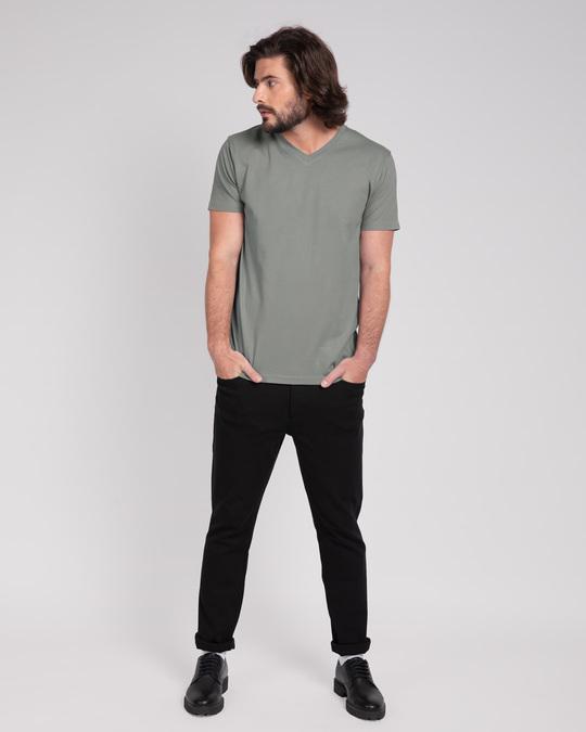 Shop Meteor Grey V-Neck T-Shirt-Full