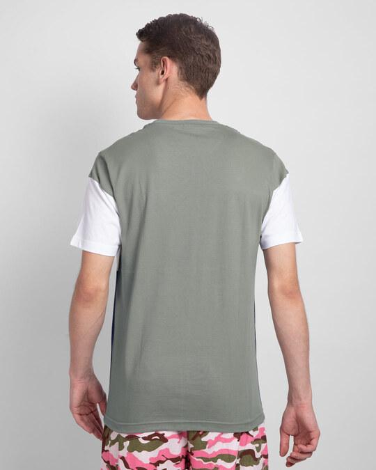 Shop Meteor Grey-White & Galaxy Blue 90's Vibe Panel T-Shirt-Full