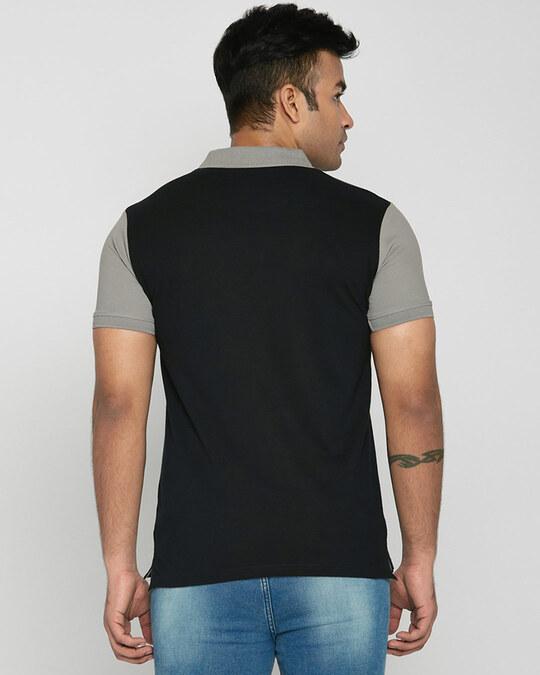 Shop Meteor Grey-White-Black Triple Block Polo T-Shirt-Design