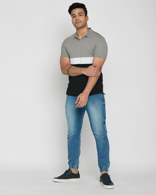 Shop Meteor Grey-White-Black Triple Block Polo T-Shirt-Full