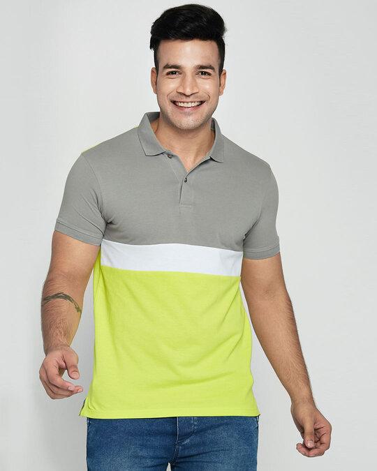 Shop Meteor Grey-White-Neon Lime Triple Block Polo T-Shirt-Front