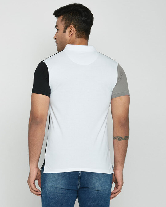 Shop Metetor Grey-White-Black Triple Vertical Block Polo T-Shirt-Design