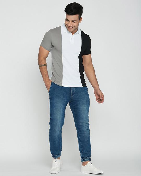 Shop Metetor Grey-White-Black Triple Vertical Block Polo T-Shirt-Full