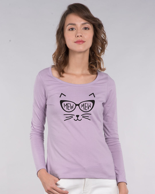 Shop Mew Mew-cat Scoop Neck Full Sleeve T-Shirt-Front