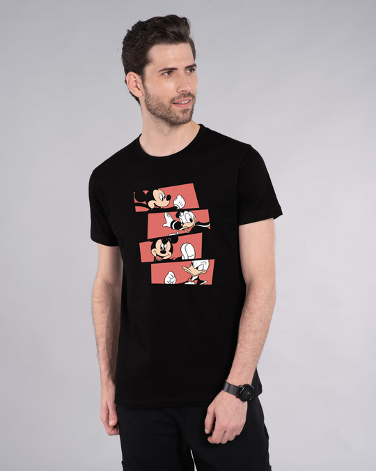 Shop Mickey And Donald Stripe Half Sleeve T-Shirt (DL)-Front