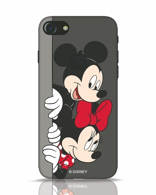Shop Mickey And Minnie iPhone 7 Logo Cut Mobile Cover-Front