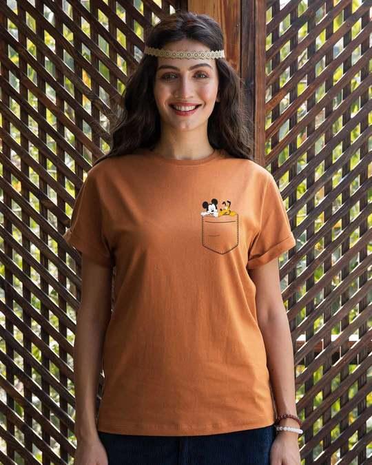 Shop Mickey And Pluto Boyfriend T-Shirt (DL)-Back