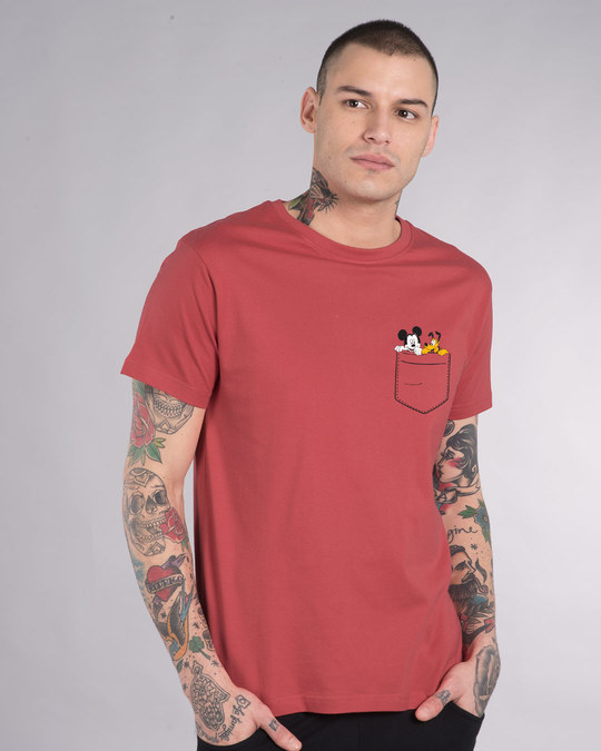 Shop Mickey And Pluto Half Sleeve T-Shirt (DL)-Front