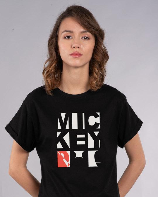 Shop Mickey Blocks Boyfriend T-Shirt (DL)-Back