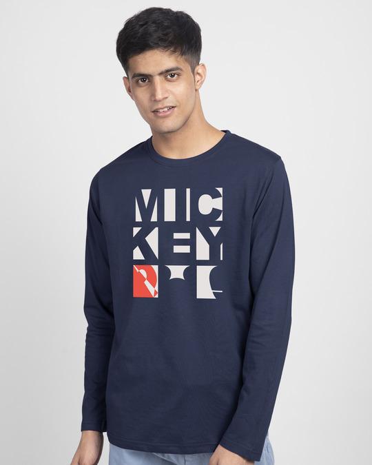 Shop Mickey Blocks Full Sleeve T-Shirt (DL)-Front