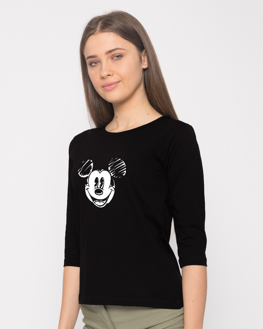 Shop Mickey Doodle Round Neck 3/4th Sleeve T-Shirt (DL)-Back