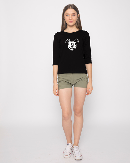 Shop Mickey Doodle Round Neck 3/4th Sleeve T-Shirt (DL)