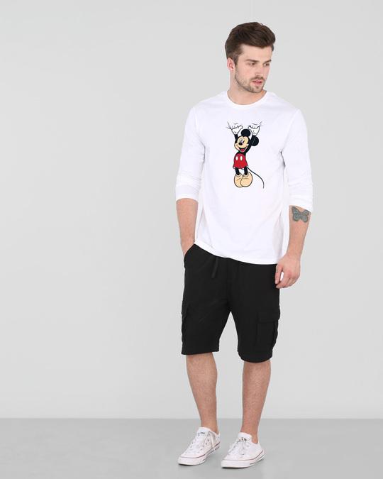 Shop Mickey Hanging Full Sleeve T-Shirt (DL) White-Design